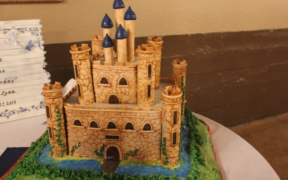 Image result for large castle with moat cake