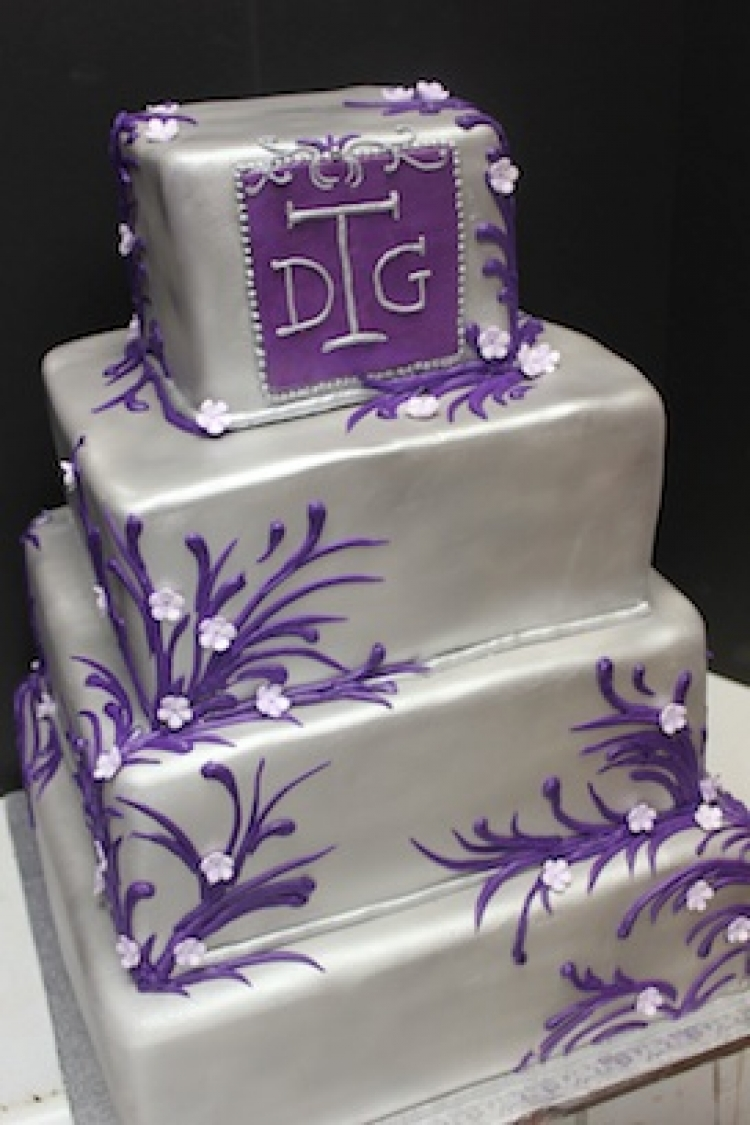 Purple And Silver Fancy Wedding Cake | Xtra Special Cakes